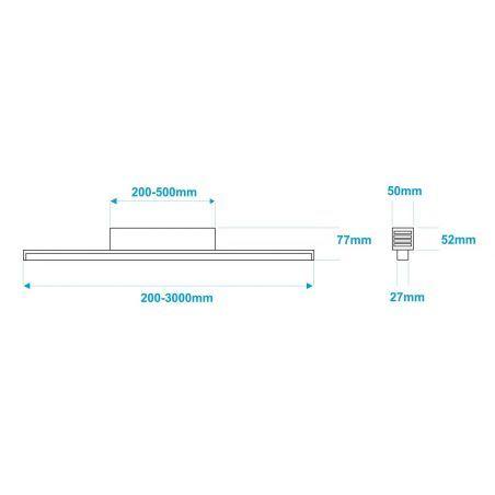 Lampa NULAMP GIP QUADRO P + BOX 200cm, 44W, 4800lm, 5000K, Ra85