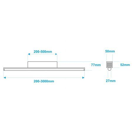 Lampa NULAMP GIP RUNDO P + BOX 100cm, 22W, 2100lm, 3000K, Ra80