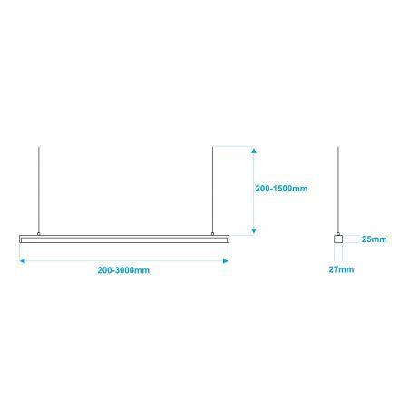 Lampa NULAMP GIP QUADRO W 100cm, 22W, 2400lm, 5000K, Ra85