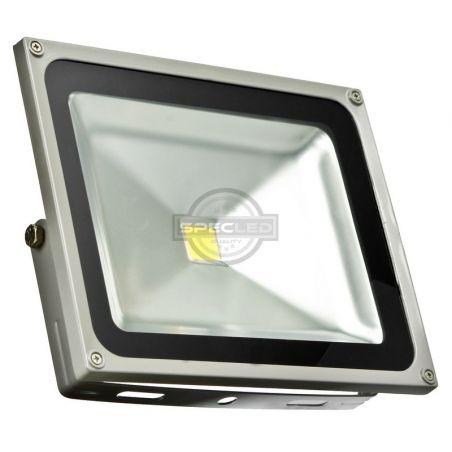 Naświetlacz LED szary, 230V, 50W, barwa ciepła, obudowa metalowa, IP65