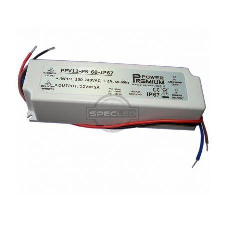 Zasilacz wodoodporny 75W IP67, 24V DC, plastik