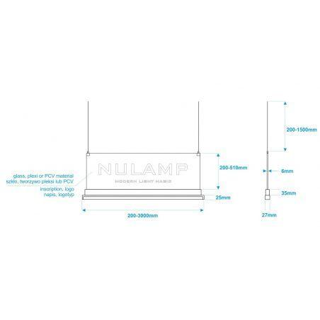 Lampa NULAMP GIP QUADRO W PLEXI 100cm, 22W + 22W, 2400lm + 2400lm, 5000K, Ra85