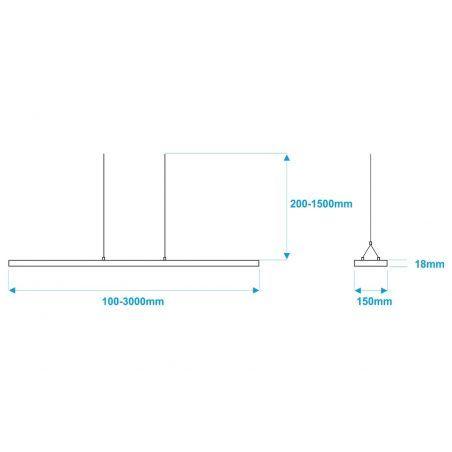 Lampa NULAMP UDESIGN W DOUBLE BLACK 100cm, 36W, 3340lm, 3000K, Ra80