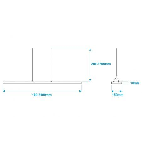 Lampa NULAMP UDESIGN W DOUBLE COLOR 100cm, 36W, 3340lm, 3000K, Ra80