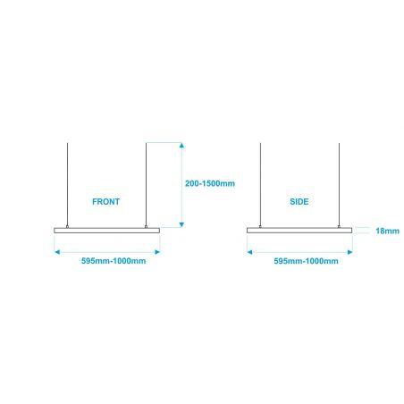 Lampa NULAMP UDESIGN W SQUARE QUATRO WHITE 59,5cm, 36W, 3340lm, 3000K, Ra80