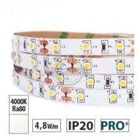 Taśma LED PRO+ 4,8W/m, 370lm/m, 4000K, Ra80, 12VDC, IP20, 5m