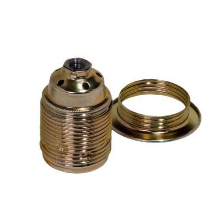 Oprawka metalowa z pierścieniem - E27 - stary złoty