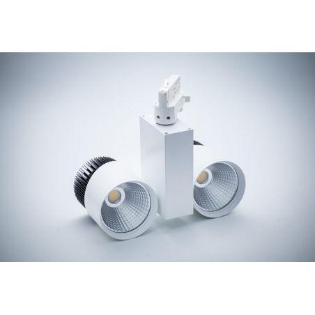 Reflektor szynowy 3- fazowy LED COB 2x20W podwójny obudowa biało-czarna 230V