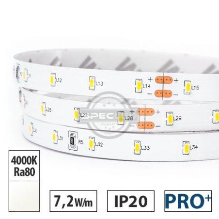 Taśma LED  PRO+  7,2W/m,  1000lm/m, 4000K, Ra80, 24VDC, IP20, 10m