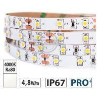 Taśma LED PRO+ 4,8W/m, 370lm/m, 4000K, Ra80, 12VDC, IP67, 5m