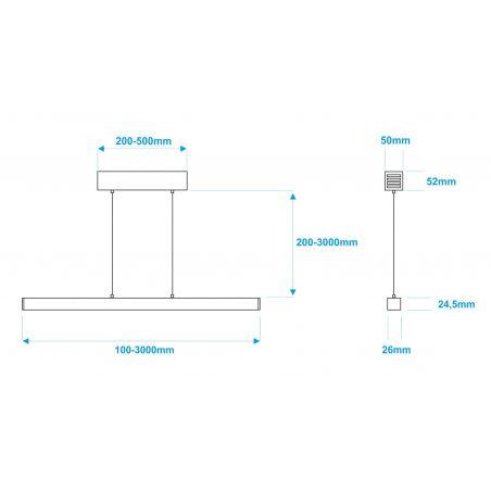 Lampa NULAMP LIPOD W + BOX 100cm, 22W, 2100lm, 3000K, Ra80
