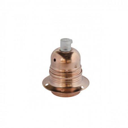 Oprawka metalowa z pierścieniem - E27 - miedziana