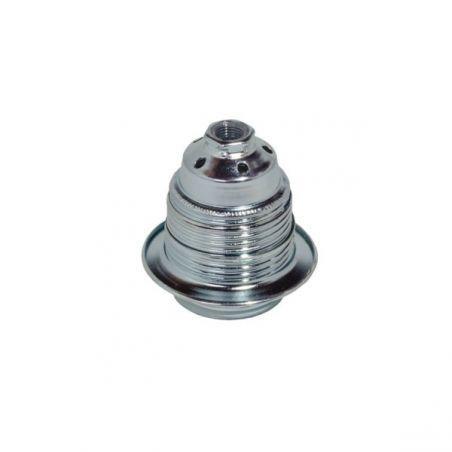 Oprawka metalowa z pierścieniem - E27 - srebrna