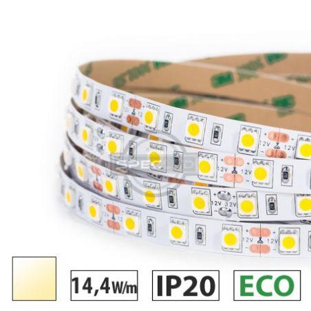 Taśma LED ECO 14,4W/m, 60xLED SMD 5050/m, biały ciepły, IP20, 5m