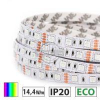 Taśma LED ECO 14,4W/m, 60xLED SMD 5050/m, RGB, IP20, 5m