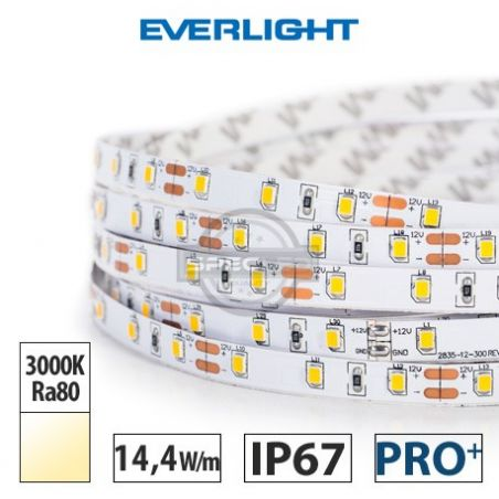 Taśma LED  PRO+ EVERLIGHT 14,4W/m, 1100 lm/m, 3000K, Ra80, 12V DC, IP67, 5m