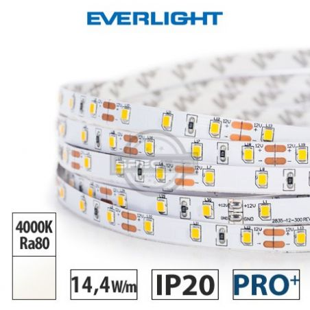 Taśma LED  PRO+ EVERLIGHT 14,4W/m, 1250 lm/m, 4000K, Ra80, 12VDC, IP20, 5m