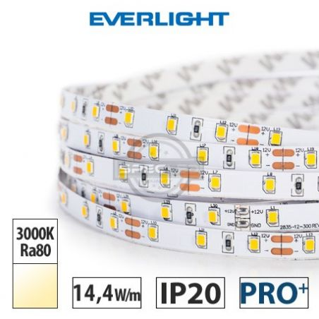 Taśma LED  PRO+ EVERLIGHT 14,4W/m, 1250 lm/m, 3000K, Ra80, 12VDC, IP20, 5m