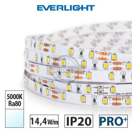 Taśma LED  PRO+ EVERLIGHT 14,4W/m, 1250 lm/m, 5000K, Ra80, 12VDC, IP20, 5m