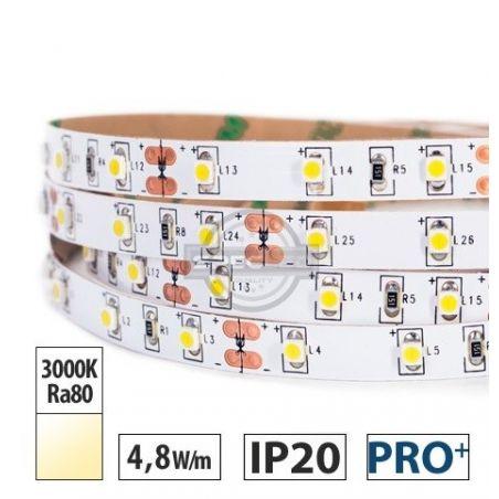 Taśma LED  PRO+ 4,8W/m, 390lm/m, 3000K, Ra80, 12VDC, IP20, 5m