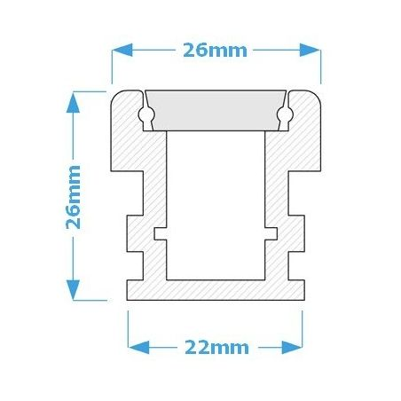 Lampa NULAMP WATER LINE 26 IP67 200cm, 26W, 2480lm, 3000K, Ra80