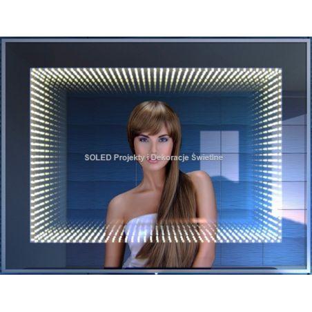 Lustro 3D LED efekt głębi tunelu 80x60cm