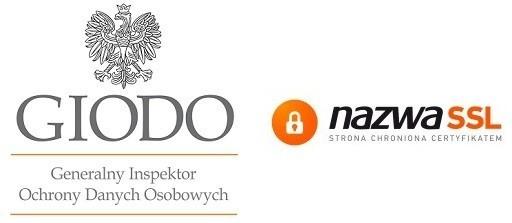 Przesyłane dane są szyfrowane i chronione certyfikatem SSL, baza Klientów chroniona przez Inspektorat Państwowy GIODO.